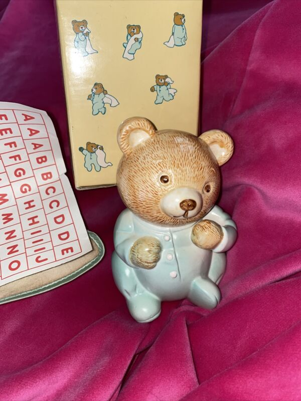 Vintage Avon Baby Bear  Bank 🐻 Piggy Coin Bank (1986) Ceramic Iron On Letters