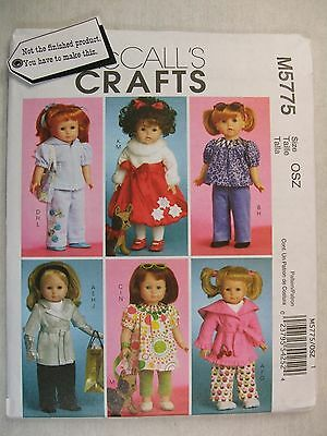 "18"" Doll Clothes Toy Dog sewing pattern McCalls M5775 See Full Listing Info"