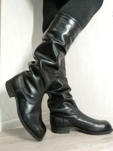 Soviet Russian Military Uniform Officer PARADE Leather Boots Sapogi Size 40 GOOD