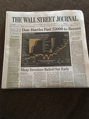 Wall Street Journal Dow Jones 25000 New Record High Full News Paper 1 5 2018