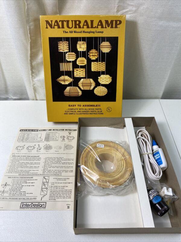 Vintage 1970's Pendant Lamp Wood MCM DIY Naturalamp Kit Finnish Wood