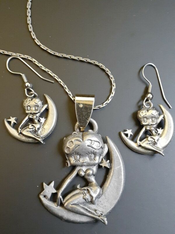 Betty Boop Necklace and Earrings Set 1994 Pewter Costume Jewelry by Starline