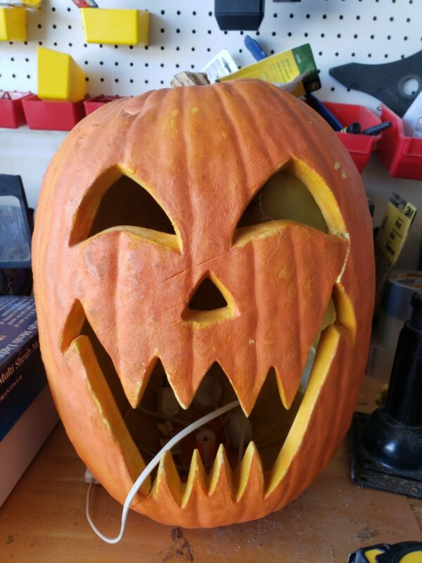 "Rare 1993 Trendmasters Halloween Foam Blow Mold Pumpkin Jack O Lantern 15"" Scary"