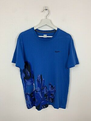 Men's Vintage Adidas Originals x Vespa Crew T-Shirt Tee Top Blue UK Size L Large