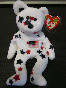 TY Beanie Baby Original GLORY Patriotic Flag Bear RARE RETIRED Label Protector