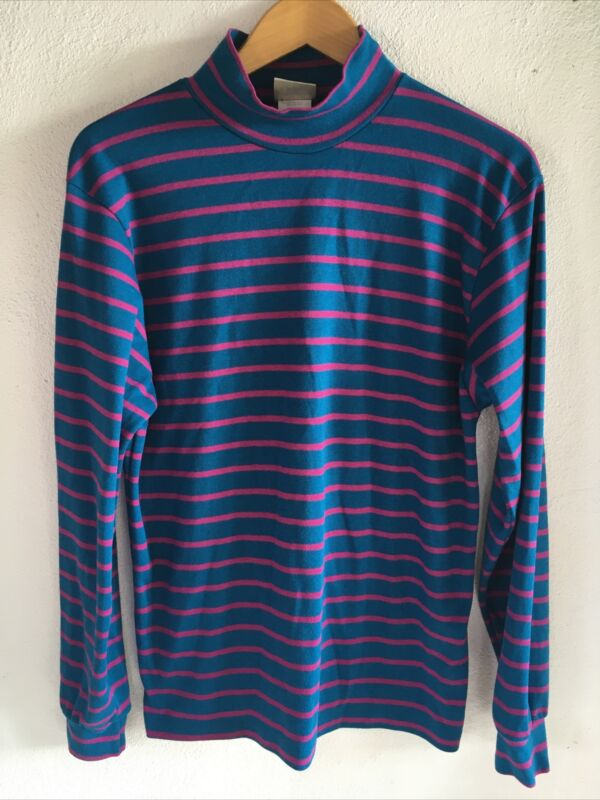 Vintage 80s 90s Mens LL Bean Striped Mock Neck Longsleeve Sz Medium