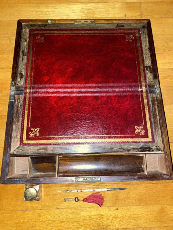 Antique Victorian Lap Desk With Brass Accents And Key