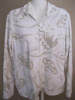 CHICO'S Zenergy Sz S M 1 White Tan Terrycloth Zip Jacket Cotton Poly 2 Pkts 8 10