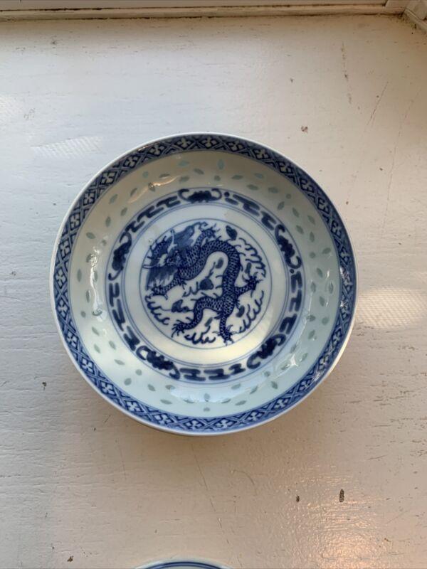 8 Vintage Jingdezhen Rice Grain 5 Clawed Blue Dragon Porcelain Small Bowls.