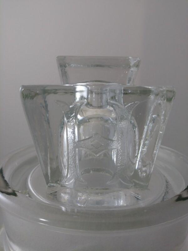 RARE LARGE antique H J HEINZ glass BOTTLE stopper KEYSTONE shape w/ SKELETON Key
