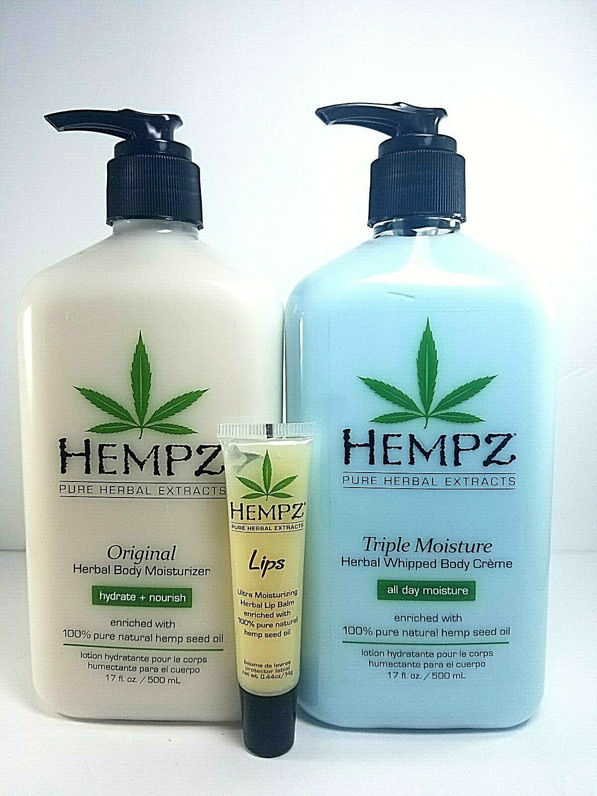 Hempz Original body lotion + Triple Moisturizer + lip balm g
