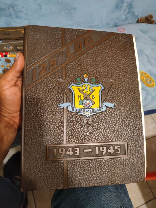 Extremely Rare WW2 125th Log Book Seabees USN Construction Bat