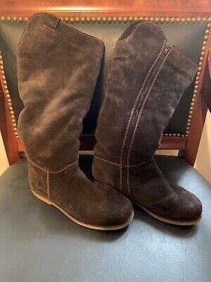 EMU Australia Kings Cross Brown Suede Sheepskin Lined Zip Up Boots Size 6