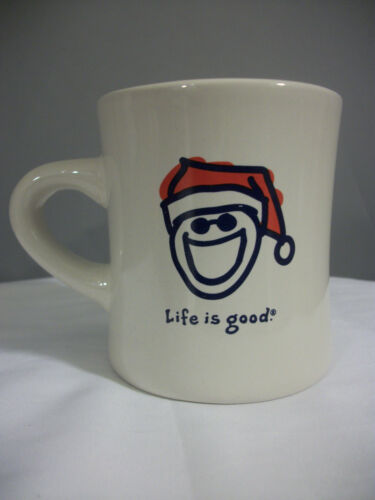 LIFE IS GOOD Christmas Holiday Coffee Good Home Mug Cup Jake in a Santa Hat VGUC