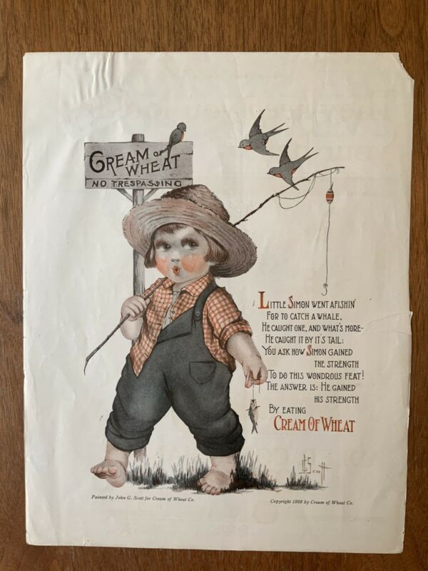 Original Cream Of Wheat Print Ad 1922 By John G. Scott