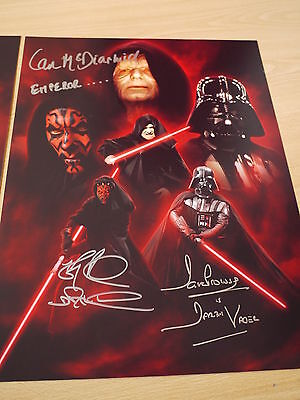 Signed Dave Prowse, Ray Park & Ian McDiarmid Star Wars 16x12 Montage - COA