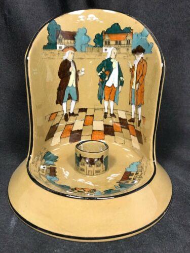 1909 BUFFALO POTTERY DELDARE WARE YE VILLAGE GOSSIP CANDLE STICK CHAMBER SHIELD