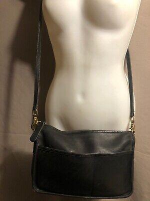 Vintage Coach Black Genuine Leather Zipper Shoulder Bag Purse Made In USA