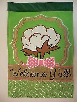 """""""Welcome Y'all"""" Cotton, Southern Bow Tie Burlap Quatrefoil applique Garden flag"""