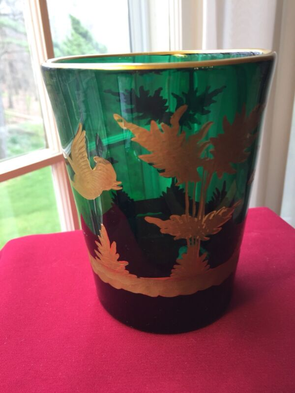 STUNNING ANTIQUE MOSER Emerald Green Engraved VASE w/HEAVY GILT Geese Flying