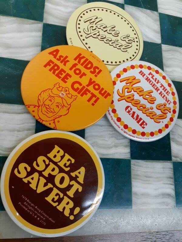1979 Burger King Button Lot (4) Vintage Fast Food Promo Pins