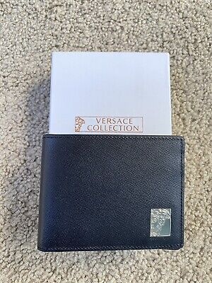 VERSACE COLLECTION Mens Saffian Leather Black Wallet Bifold New Medusa Logo