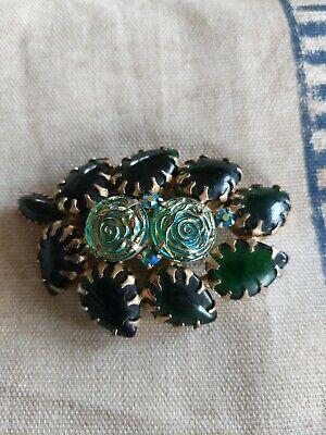 Vintage Emerald Dark Green Rhinestone Brooch Large w/ Flowers - Pretty! Dark Green Rhinestone