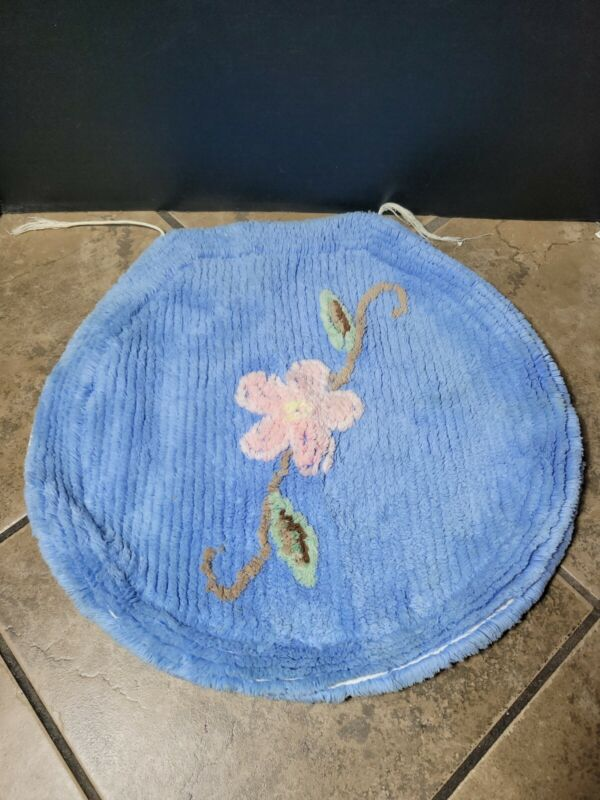 Vintage Chenille Toilet Seat Cover.  Blue With Pink Flower.  Floral.