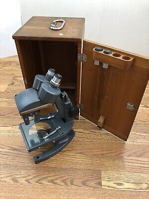 Vintage Bausch Lomb Microscope Wn3965 Wood Case Binocular Lab Science
