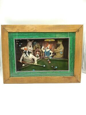 Vintage 3D Shadow Box Dogs Playing Pool Framed Picture Man Cave 18