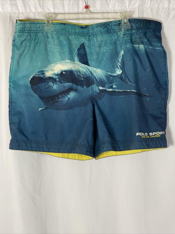 Vintage Ralph Lauren Polo Sport Shark Shorts Stadium 1992 Snowbeach Swim