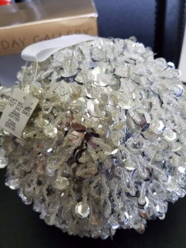 """Holiday Gallery Large Silver Glitter Sequin Ball Ornament 5.5""""D"""