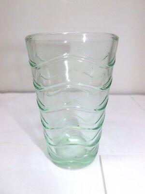 MINT GREEN DEPRESSION WAVE PATTERN JUICE GLASS TUMBLER