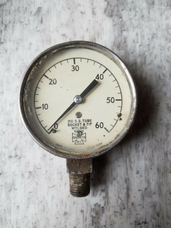 """Vintage US Pressure Gauge  Meter Made in USA Steampunk Industrial 2-5/8"""" Dia"""