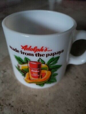 VINTAGE WHITE MILK GLASS COFFEE MUG with Adolph's advertising and papaya