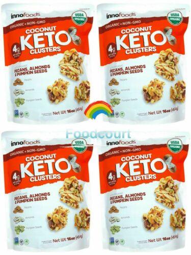 4 Packs Innofoods Organic Coconut Keto Clusters 16 oz Each Pack