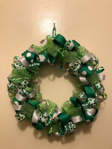 St Patrick's Day Wreath, St Patrick's handmade ribbon wreath, 12""
