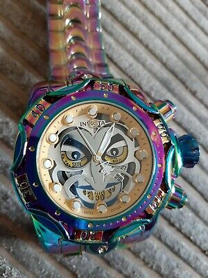 Invicta Joker Watch Genuine Multicolored  ***rare*** gold face special edition