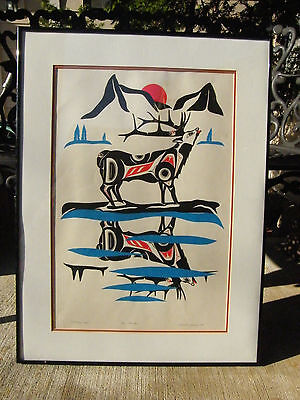 NORTHWEST COAST NATIVE ART ROBERT E SEBASTIAN PAINTING ELK ORIGINAL MATTING 84