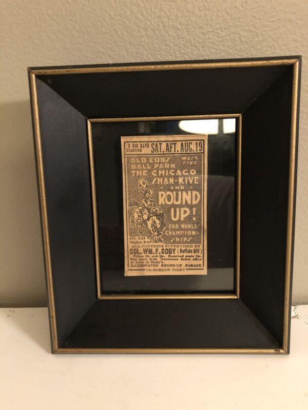 ANTIQUE CHICAGO NEWSPAPER AD FRAMED RODEO BUFFALO BILL Prices 25 Cent ORIGINAL!