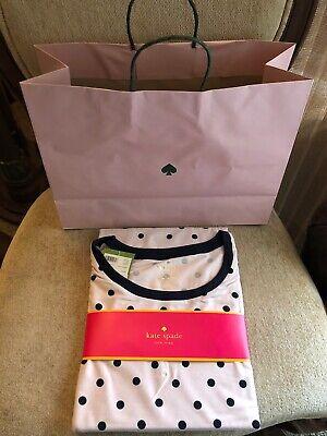 Kate Spade dream a little dream Polkadot Long Sleeve Sleepshirt XL NWT Gift bag