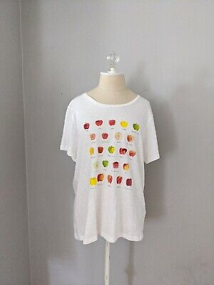 J. Crew Factory Womens Size Large Collector Tee T Shirt Apple Graphic Print