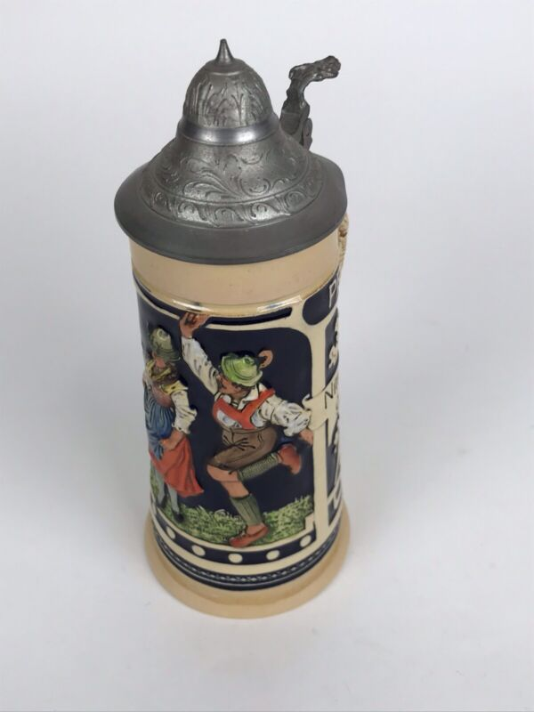 """Vintage German Ceramic  Beer Stein with Pewter Lid / Oktoberfest Scene 9"""""""