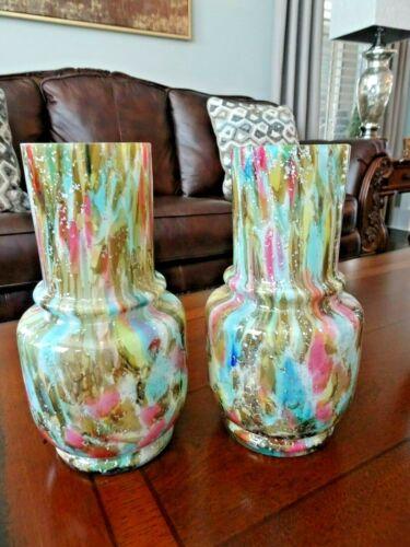 Vintage Pair Bohemian Art Glass Czech Cased MICA & SPATTER VASES / Jugs