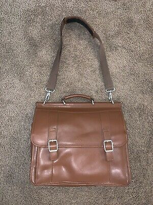 "Samsonite Tan Leather Messenger Laptop Bag 16"" w/ Strap EXCELLENT CONDITION ++"