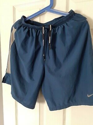 Mens Nike  DRY-FIT Running Fitness Shorts BlUE/GREY UK Medium Great Condition