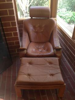 Leather lounge chair and ottoman Panorama Mitcham Area Preview