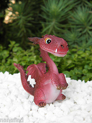 Miniature Dollhouse FAIRY GARDEN ~ Mini RED Dragon CUTE Standing Figurine ~ NEW