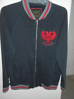 OLD NAVY Jacket XL Cotton Blend Varsity BLACK RED  Trim Zip Thick Sweat Bomber ()