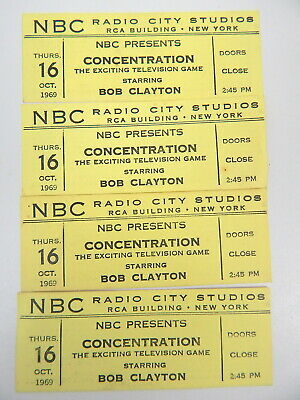 1J NBC Radio City Studios CONCENTRATION TV Game Show Tickets Set Of 4 1969